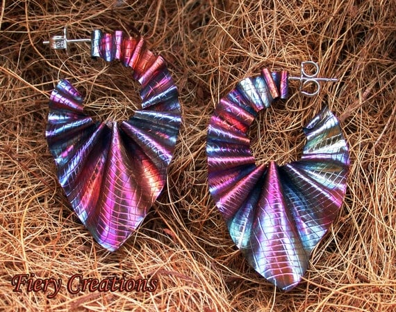 "Ripple Hoops - ""Painted with Fire""  textured copper hoops"