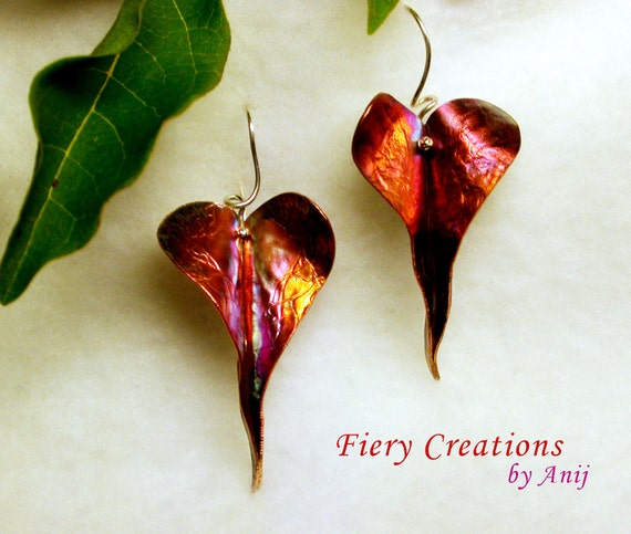 """Heart Leaves - """"Painted with Fire"""" textured Copper with Handmade Sterling Silver ear wires, OOAK"""