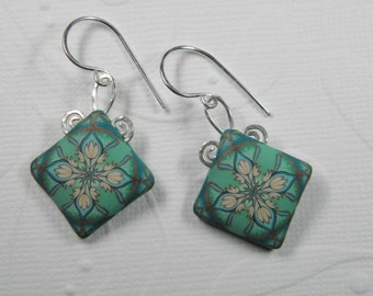 Art Nouveau Millefiori Polymer Clay Dangle Earrings