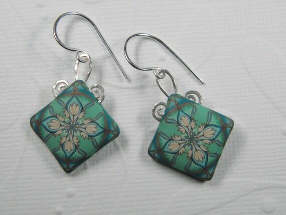 Art Nouveau Millefiori Polymer Clay Dangle Earrings