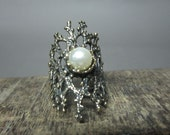 Pearl antique oxidized ring