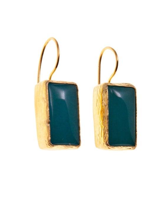Green Jade Earrings 925k Silver and Gold Vermeil