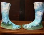 hand-dyed psychedelic Ninja Boots JIKATABI forest and sky