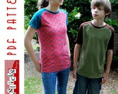 PDF Sewing Pattern:  The Patrick Curved Raglan Big Kid Sizes (Instant Download)