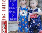 PDF Sewing Pattern:  The Buttons & Buckles Overall and Shortall (Instant Download)