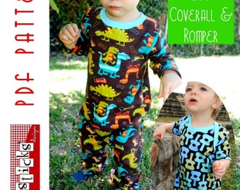 PDF Sewing Pattern:  The Austin Lee Coverall & Romper (Instant Download)