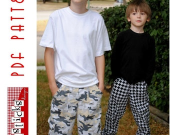 PDF Sewing Pattern:  The Inside or Out Pocket Pants-Big Kid Sizes (Instant Download)