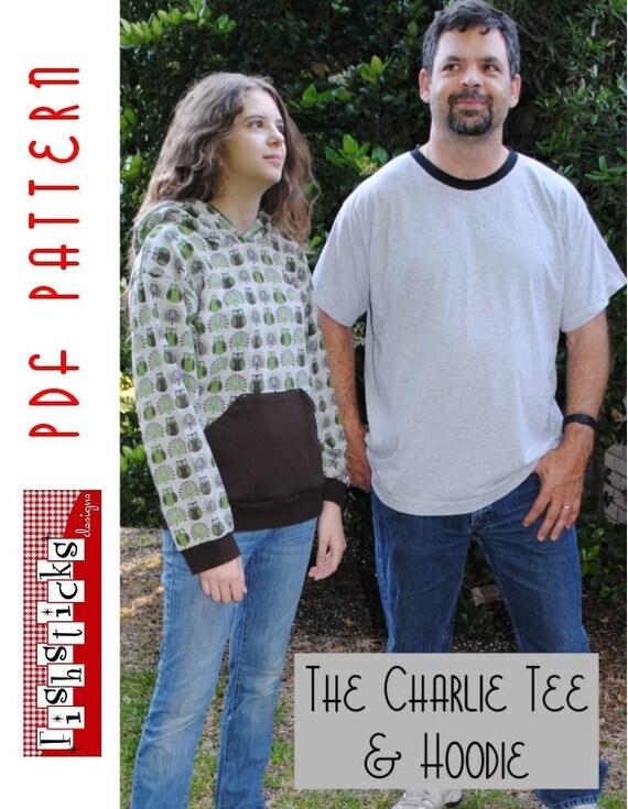 PDF Sewing Pattern:  The Charlie Tee & Hoodie Teen-Adult
