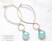 "Aqua Chalcedony Long Curvy Hoop Earrings - ""Mermaid's Tears"" in Gold or Silver"