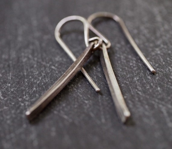 Modern, funky sterling silver hanging stick earrings