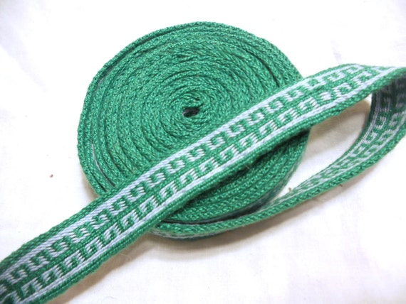 Greek Key Tablet Woven Cotton Trim - Green, Light Blue