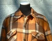 SALE Vintage 60s 70s Lumberjack Woodsman Orange and Brown Plaid Mens Wool Coat Lined