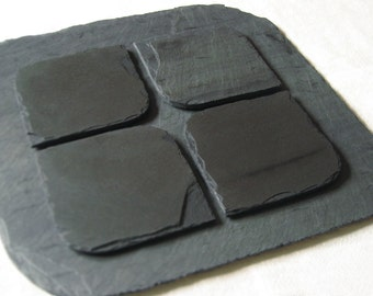 Set of 4 BLACK Salvaged Slate COASTERS and PLACEMAT with Eco-Backing - Wedding Gift & Registry, Housewarming, Thanksgiving Host, Holidays