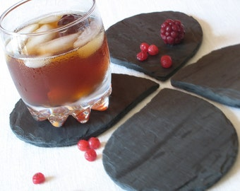 Set of 4 LEAF Black Salvaged SLATE COASTERS with Eco-Backing - Birthday, Wedding, Housewarming, Host Gift [Ardoise Noir / Posavasos Pizarra]