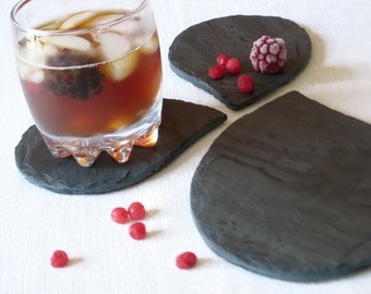 Set of 3 Leaf Black/Grey SALVAGED SLATE Pitcher & Glass COASTERS with Eco-Backing—Holidays, Thanksgiving, Housewarming Gift—Wedding Registry