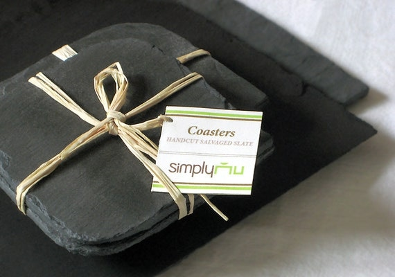 Set of 2 GREY Salvaged Slate COASTERS and PLACEMAT with Eco-Backing - Wedding, Housewarming, Host Gift [Ardoise Gris/Plateau-Pizarra - Gris]