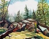Above Adams Falls Colorado watercolor painting  23x17
