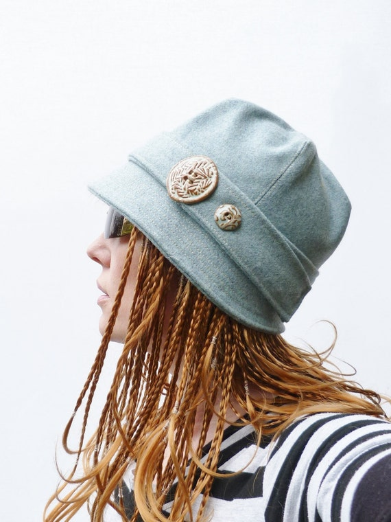 SAMPLE SALE - Cloche Hat - Contemporary Mint Green  Wool fabric Womens Hat