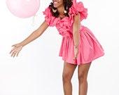 Big Blo Bubble Gum Vintage Pink Dress Reworked Off shoulders  Huge Ruffles and asymmetric hem size Small