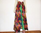 Floral High Waist Maxi Skirt Overskirt XS S