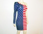 Stars and Stripes American Flag One Shoulder Mini Dress size small to medium by J. Pearl