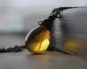 Distilled Necklace- Honey Citrine Glass Teardrop Wire Wrapped in Oxidized Sterling Silver Wire and Chain