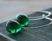 Emerald Green Czech Glass Teardrops Suspended on Handmade Sterling Silver Hoops - Forest Rain Hoop Earrings