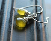 Lutescent Earrings- Lemon Chalcedony Faceted Heart Briolettes Wire Wrapped on Sterling Silver Handformed Earwires