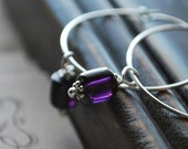 My Heart My Divine- Deep Purple Glass Elongated Beads on Hand Formed Sterling Silver Hoops