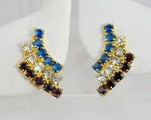 Vintage Patriotic Red, White and Blue Rhinestone Earrings