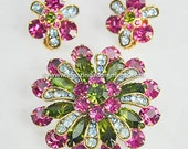 Vintage Unsigned Pink, Green and Blue Rhinestone Set
