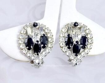 Elegant Vintage Black and Crystal Rhinestone Earrings