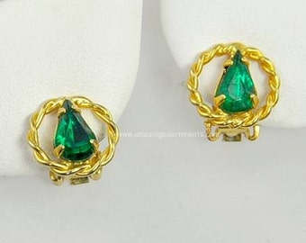 Vintage Signed WEISS Green Rhinestone Earrings