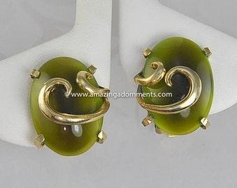 Vintage Signed WHITING & DAVIS Green Stone Earrings