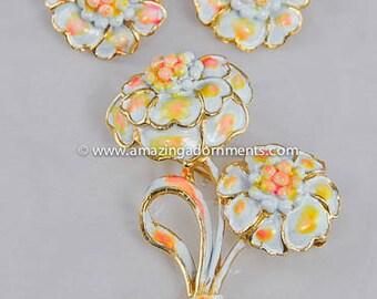 Vintage Signed HOLLYCRAFT Enamel Flower Brooch and Earring Set