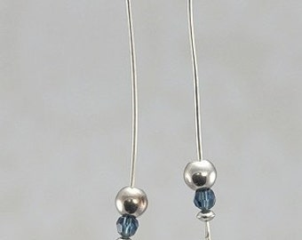 Swarovski Montana Blue Crystal Sterling Silver Hammered Tip Earrings