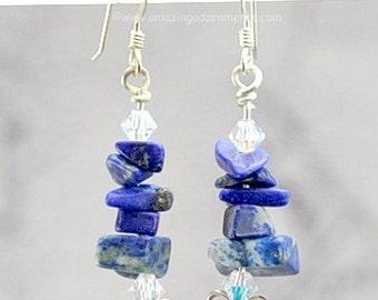 Sterling Silver Swarovski Crystal Lapis Chip Earrings
