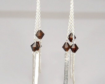 Sterling Silver Swarovski Crystal Chain and Hammered Drop Earrings