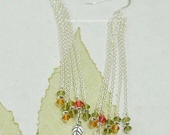 Artisan Sterling Silver Fall Colored Swarovski Crystal Earrings