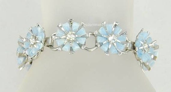 Vintage Unsigned Blue Thermoplastic and Rhinestone Flower Bracelet