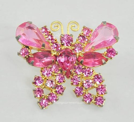 Vintage Signed WEISS Small Pink Rhinestone Butterfly Brooch