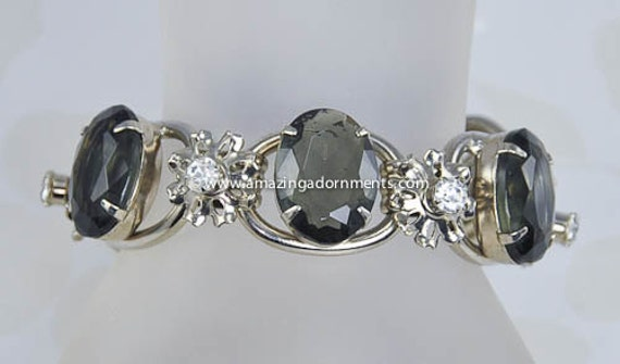 Vintage DELIZZA and ELSTER Smoke and Clear Rhinestone 5 Link Bracelet