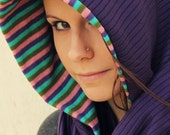 Circle Scarf-Infinity Scarf-Purple Scarf-Striped Scarf-Fall/Winter-Hooded Scarf