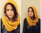 Mustard Yellow Scarf-Infinity Scarf-Cowl Scarf-Hooded Scarf-Fall Fashion