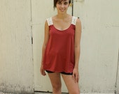 Rust Tank Top-Lace Straps-Size Medium