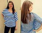 Womens Striped Oversize Sheer Lace Top-Blue and White stripes, size Medium