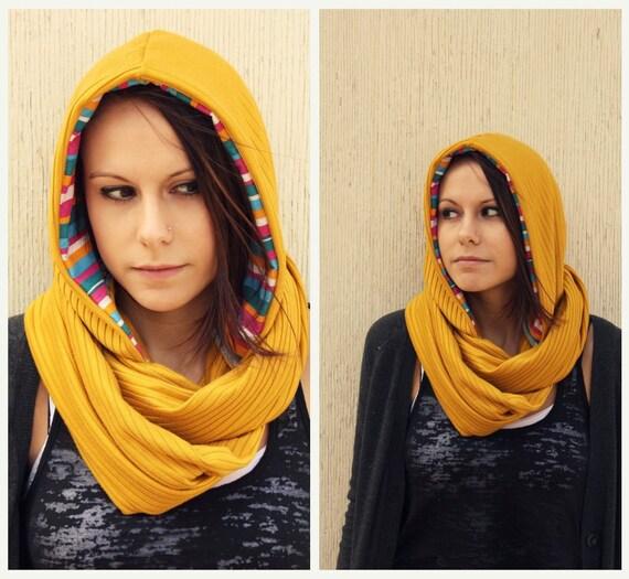 Mustard Yellow Scarf-Infinity Scarf-Cowl Scarf-Hooded Scarf-Fall Fashion