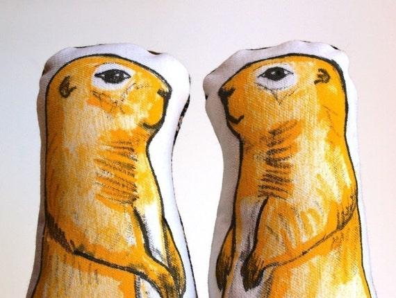 Pair of Prairie Dog Plush Pillows in Golden Yellow