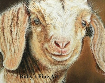Goat Print Billy Goat Kid Barnyard Art by Roby Baer PSA