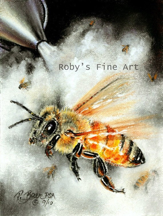Bee Print Smoking Bees Giclee by Roby Baer PSA